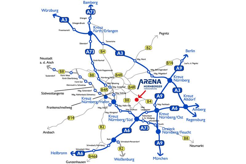 Anfahrt Und Parken An Der Arena Nurnberger Versicherung